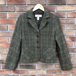 Studio Y Green Plaid Tweed Women's Blazer